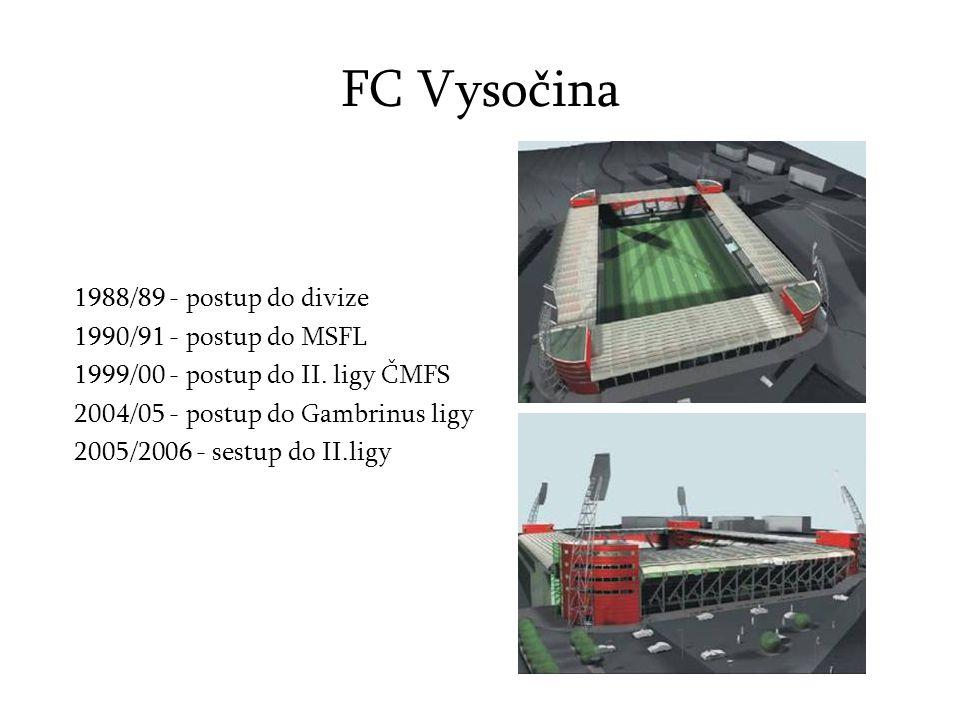 FC Vysočina 1988/89 - postup do divize 1990/91 - postup do MSFL 1999/00 - postup do II.
