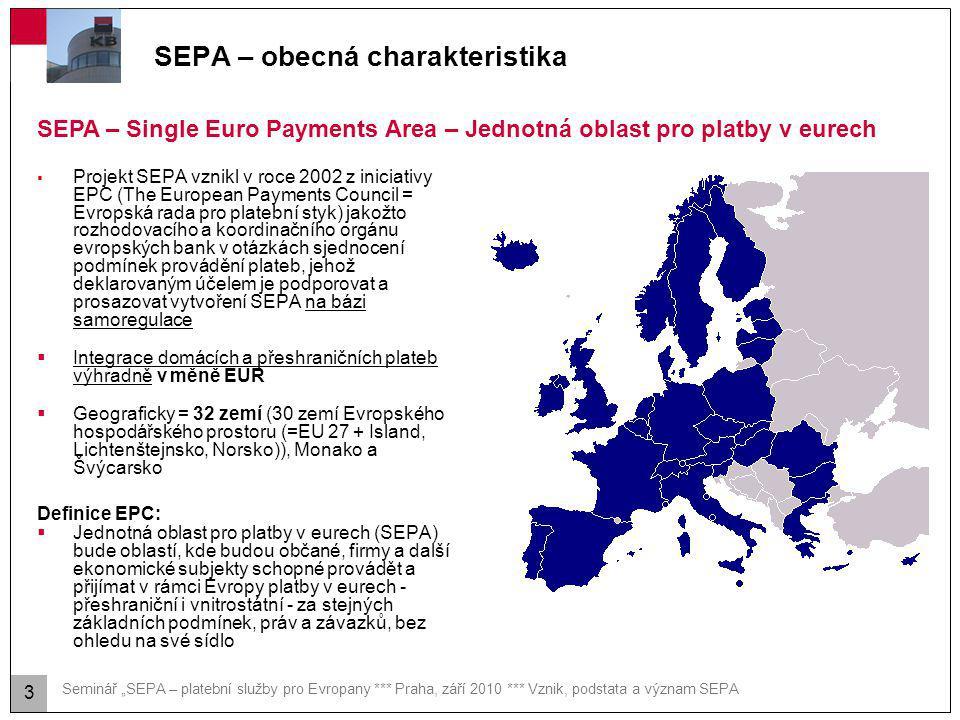 """Seminář """"SEPA – platební služby pro Evropany *** Praha, září 2010 *** Vznik, podstata a význam SEPA SEPA – obecná charakteristika  Projekt SEPA vznik"""