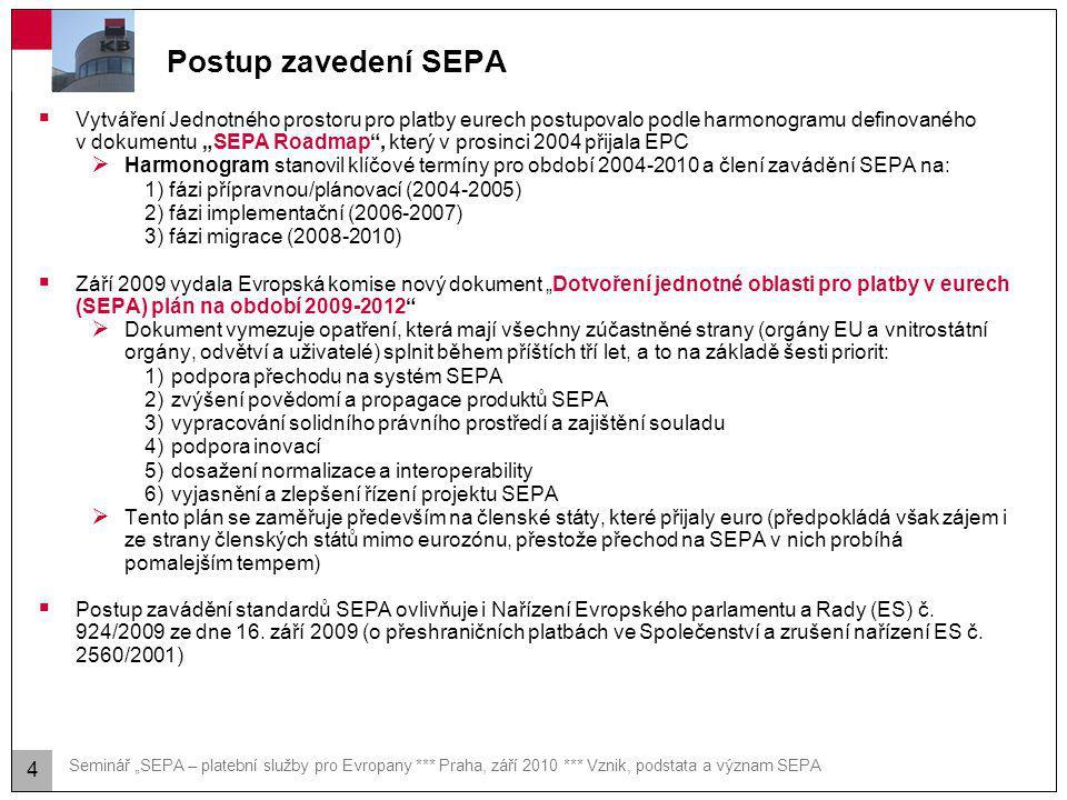 """Seminář """"SEPA – platební služby pro Evropany *** Praha, září 2010 *** Vznik, podstata a význam SEPA Postup zavedení SEPA  Vytváření Jednotného prosto"""