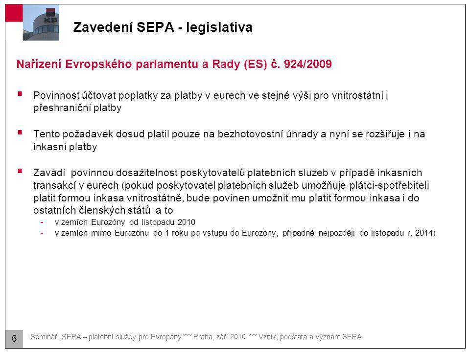 """Seminář """"SEPA – platební služby pro Evropany *** Praha, září 2010 *** Vznik, podstata a význam SEPA Zavedení SEPA - legislativa  Povinnost účtovat po"""