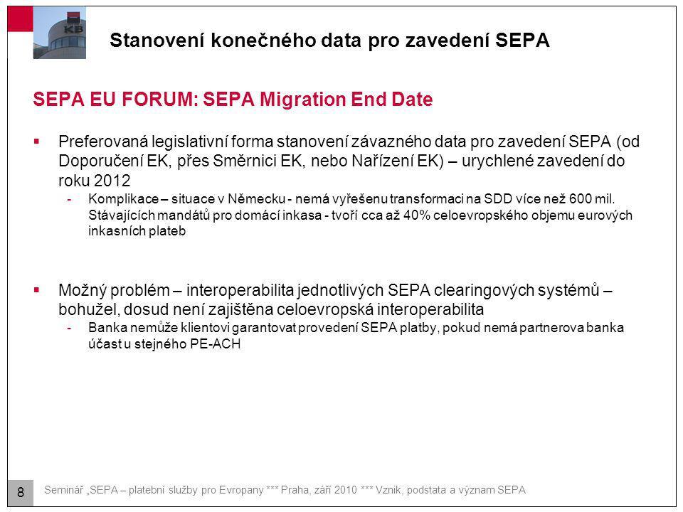 """Seminář """"SEPA – platební služby pro Evropany *** Praha, září 2010 *** Vznik, podstata a význam SEPA Stanovení konečného data pro zavedení SEPA SEPA EU"""