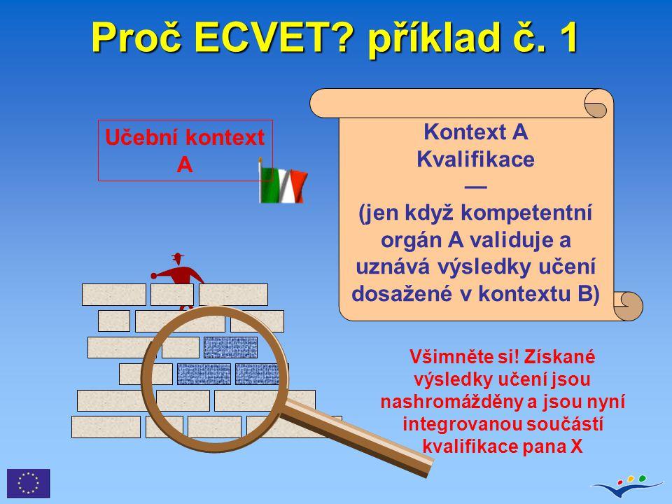 Proč ECVET? příklad č. 1 Kontext A Kvalifikace — (jen když kompetentní orgán A validuje a uznává výsledky učení dosažené v kontextu B) Všimněte si! Zí