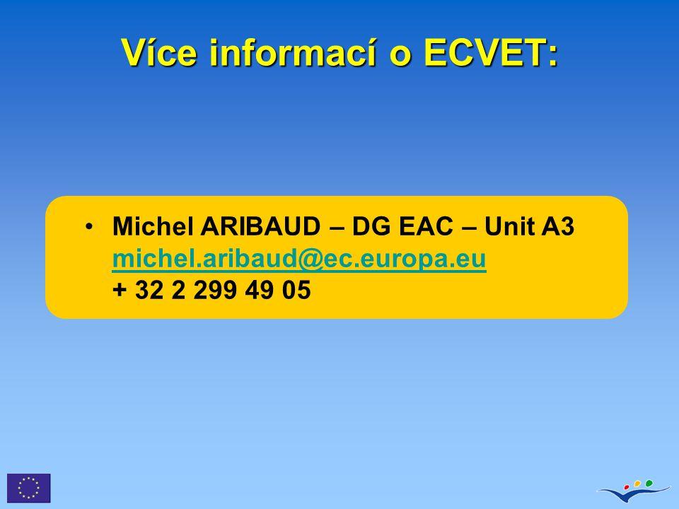 Michel ARIBAUD – DG EAC – Unit A3 michel.aribaud@ec.europa.eu + 32 2 299 49 05 michel.aribaud@ec.europa.eu Více informací o ECVET: