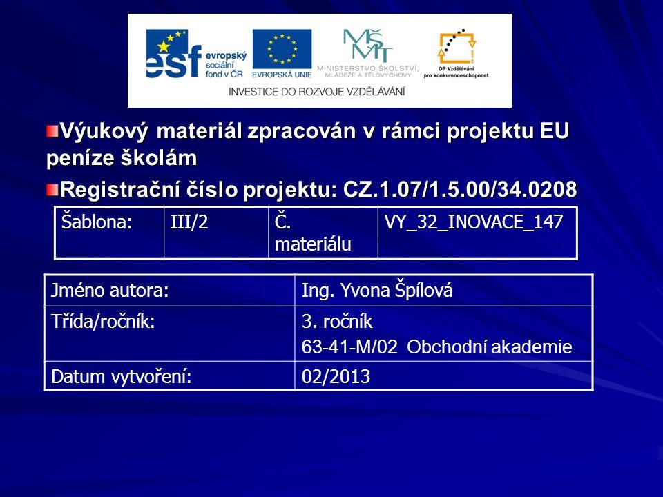 Výukový materiál zpracován v rámci projektu EU peníze školám Registrační číslo projektu: CZ.1.07/1.5.00/34.0208 Šablona:III/2Č. materiálu VY_32_INOVAC