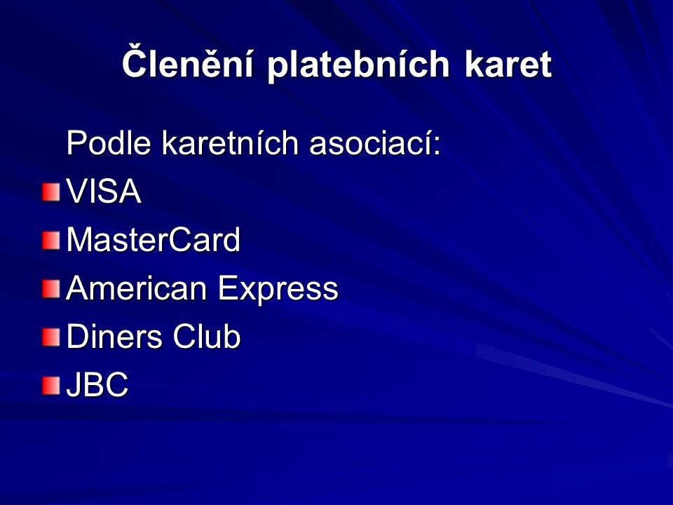 Členění platebních karet Podle karetních asociací: VISAMasterCard American Express Diners Club JBC