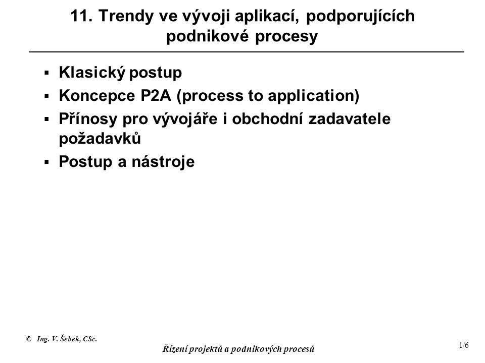© Ing. V. Šebek, CSc. Řízení projektů a podnikových procesů 1/6 11. Trendy ve vývoji aplikací, podporujících podnikové procesy  Klasický postup  Kon