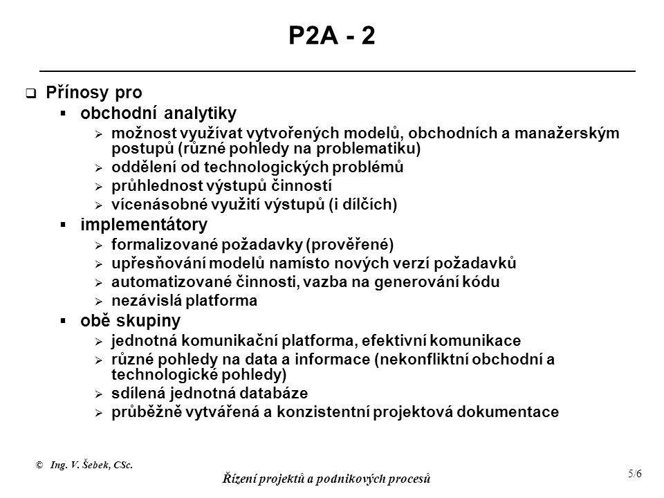 © Ing. V. Šebek, CSc. Řízení projektů a podnikových procesů 5/6 P2A - 2  Přínosy pro  obchodní analytiky  možnost využívat vytvořených modelů, obch