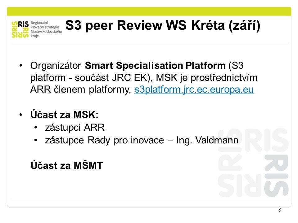 S3 peer Review WS Kréta (září) 8 Organizátor Smart Specialisation Platform (S3 platform - součást JRC EK), MSK je prostřednictvím ARR členem platformy