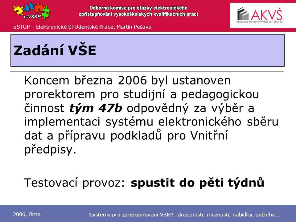 eSTUP – Elektronické STUdentské Práce, Martin Pešava 2006, Brno Systémy pro zpřístupňování VŠKP: zkušenosti, možnosti, nabídky, potřeby...