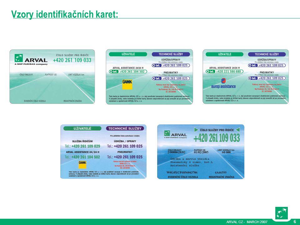 ARVAL CZ - MARCH 2007 6 Vzory identifikačních karet:
