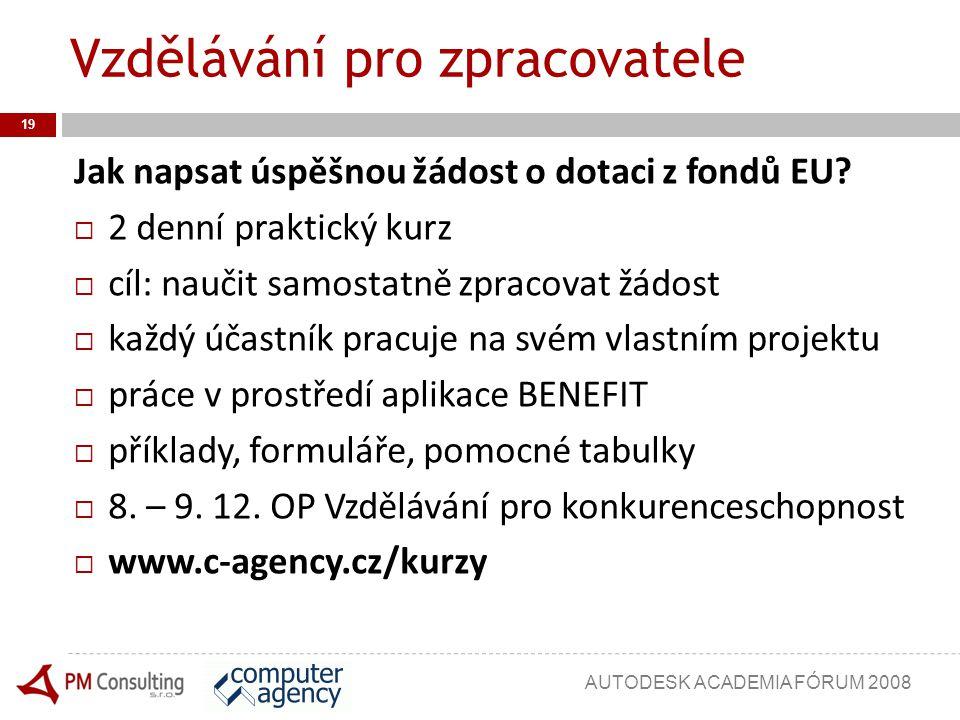 Vzdělávání pro zpracovatele 19 Jak napsat úspěšnou žádost o dotaci z fondů EU?  2 denní praktický kurz  cíl: naučit samostatně zpracovat žádost  ka