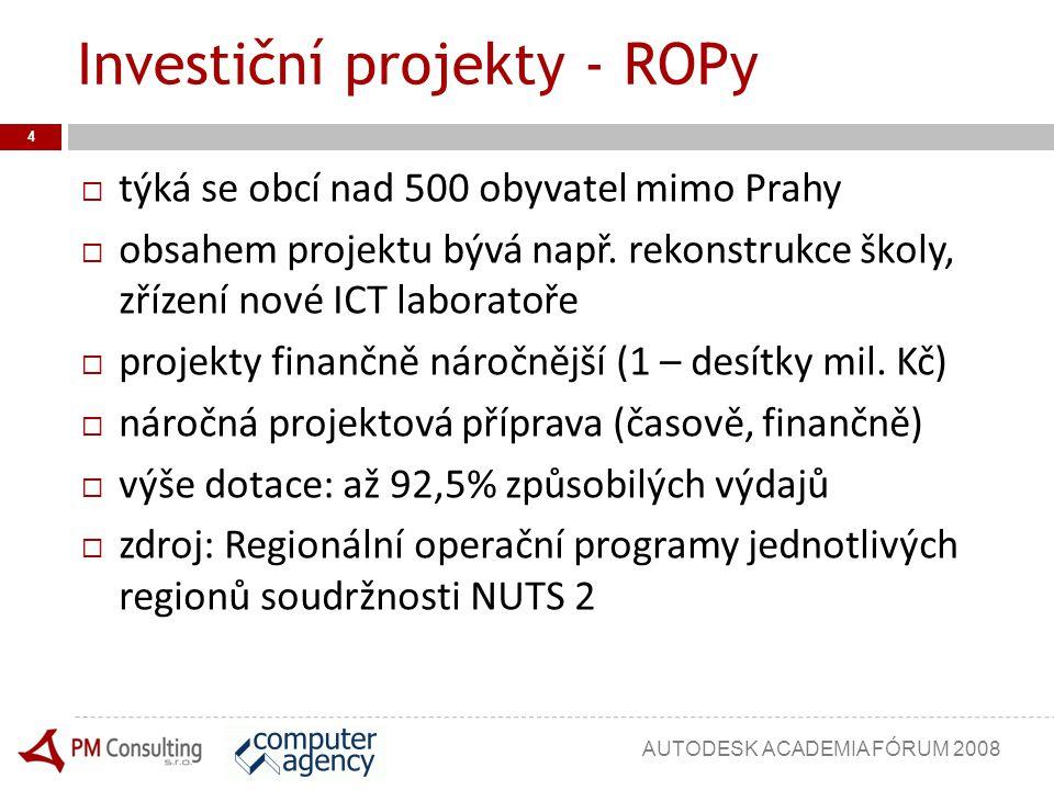 Investiční projekty - ROPy  týká se obcí nad 500 obyvatel mimo Prahy  obsahem projektu bývá např. rekonstrukce školy, zřízení nové ICT laboratoře 