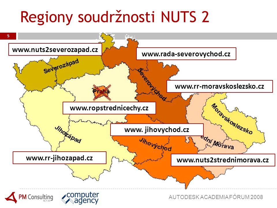 Regiony soudržnosti NUTS 2 5 www.nuts2severozapad.cz www.rr-jihozapad.cz www.rada-severovychod.cz www.ropstrednicechy.cz www. jihovychod.cz www.rr-mor