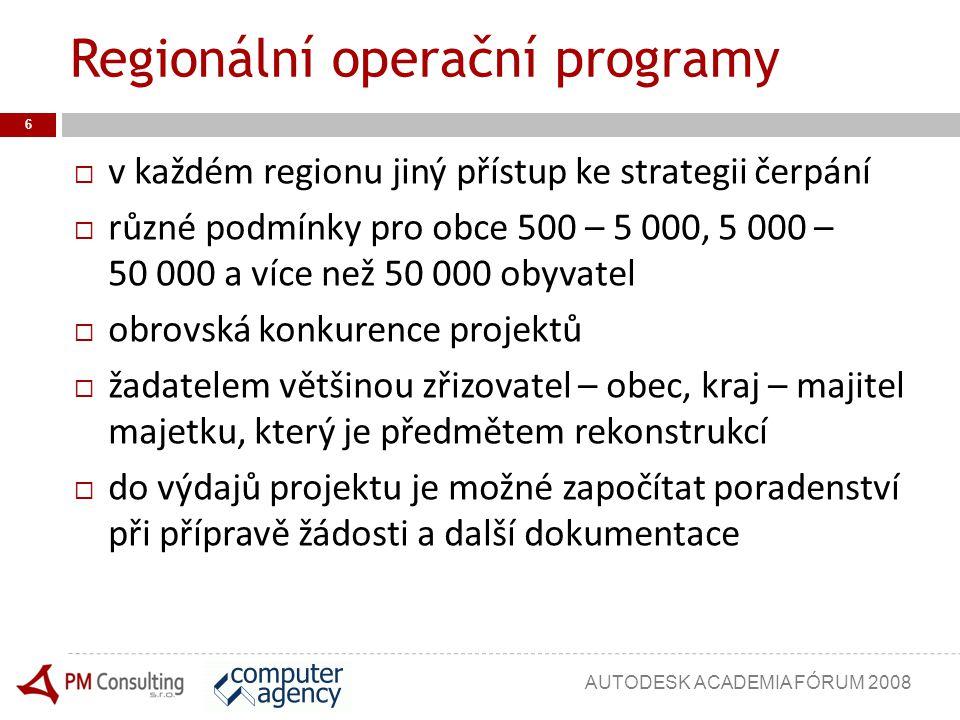 Regionální operační programy  v každém regionu jiný přístup ke strategii čerpání  různé podmínky pro obce 500 – 5 000, 5 000 – 50 000 a více než 50