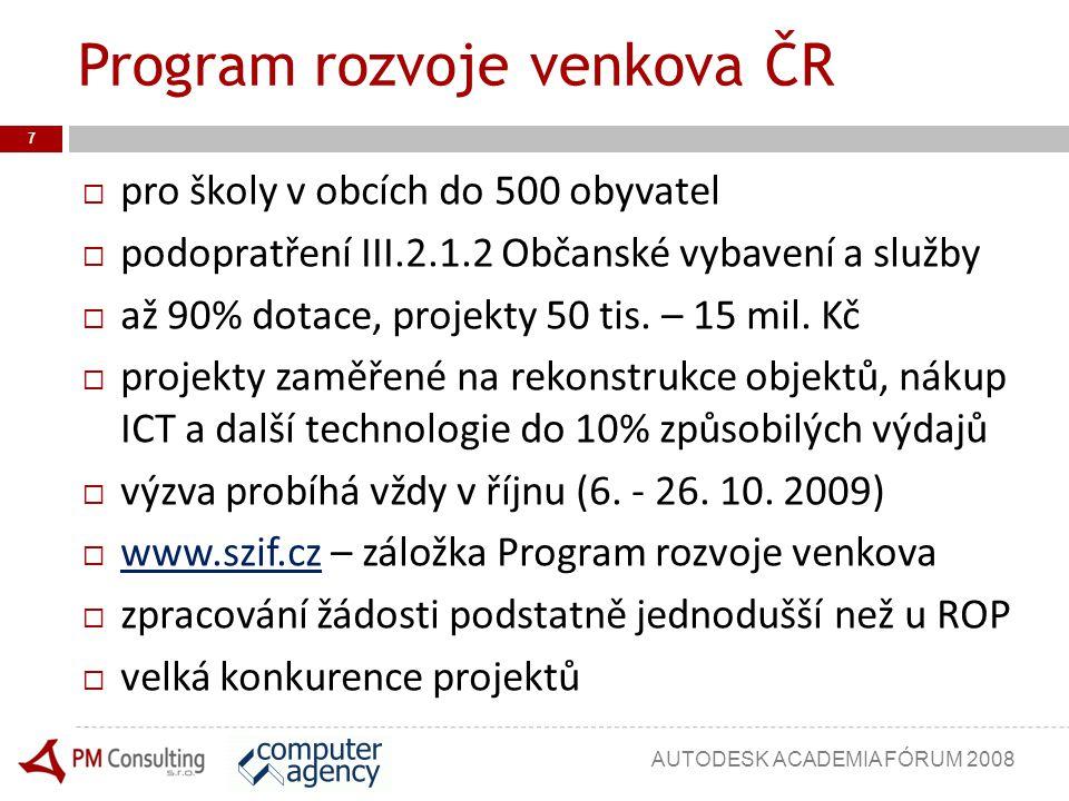 Faktory úspěšnosti zpracovatele 18 Formulační dovednosti kreativita stručné a jasné vyjadřování Pečlivost úředníka dodržení všech formalit Ekonomické znalosti tvorba rozpočtů základy účetnictví AUTODESK ACADEMIA FÓRUM 2008