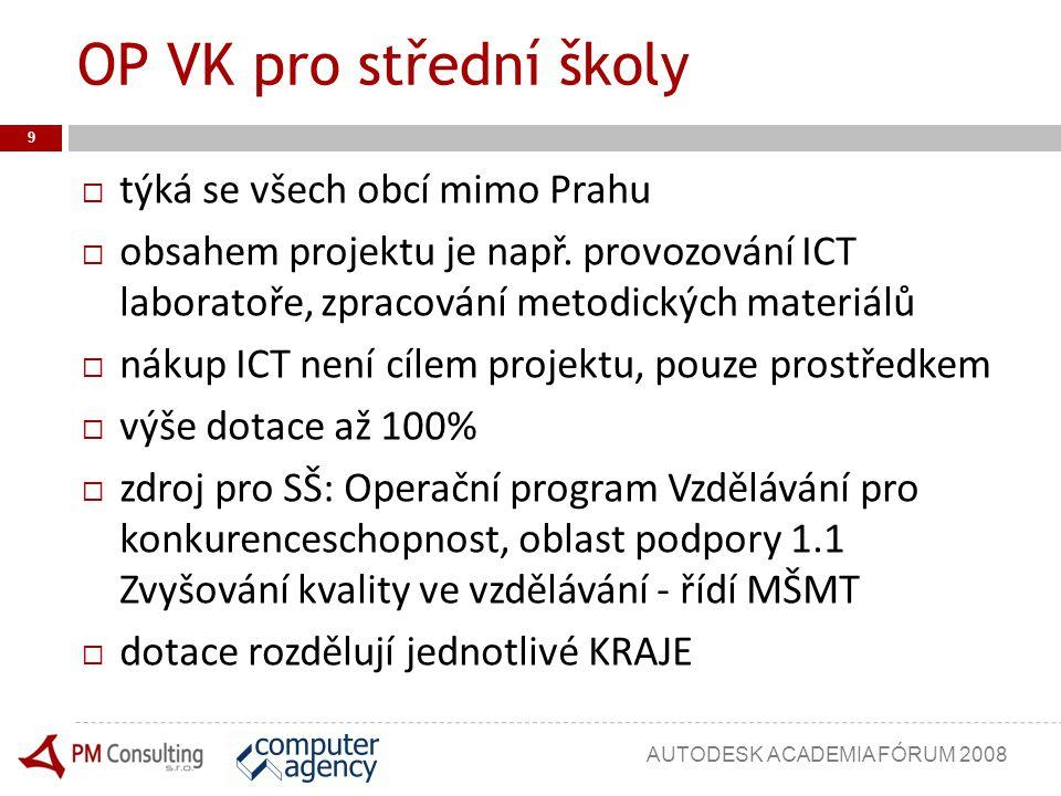 OP VK pro střední školy  týká se všech obcí mimo Prahu  obsahem projektu je např. provozování ICT laboratoře, zpracování metodických materiálů  nák