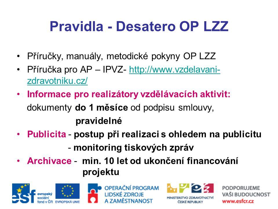Pravidla - Desatero OP LZZ Příručky, manuály, metodické pokyny OP LZZ Příručka pro AP – IPVZ- http://www.vzdelavani- zdravotniku.cz/http://www.vzdelav