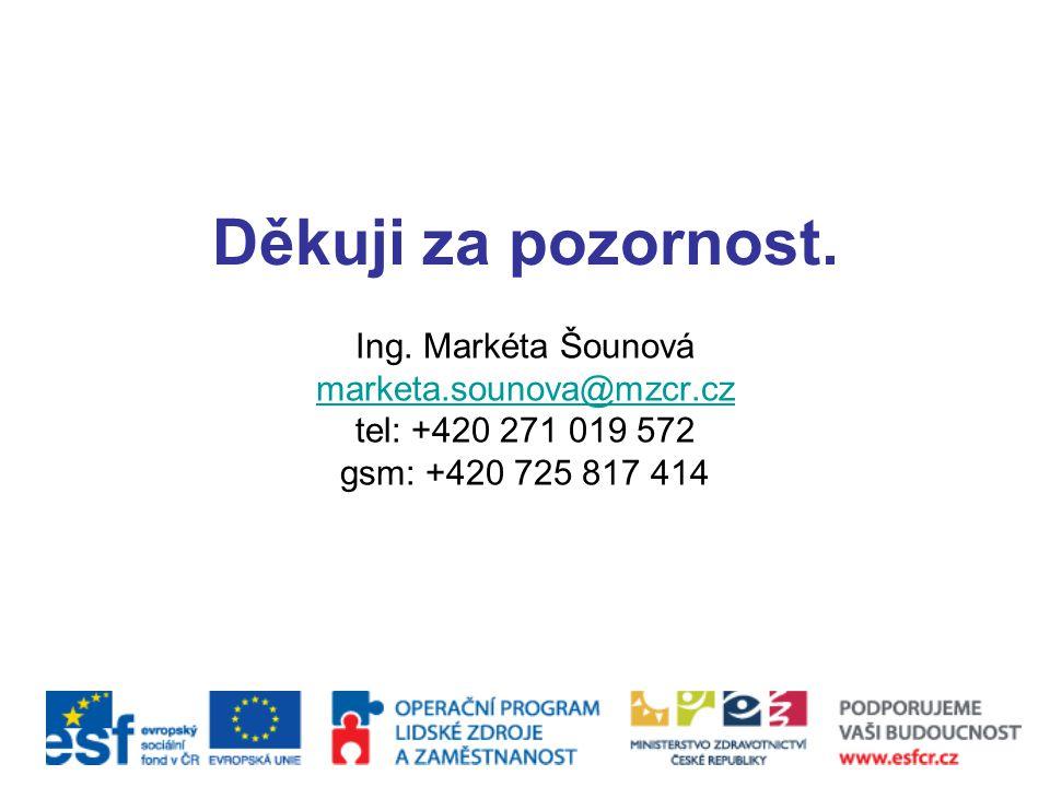Děkuji za pozornost. Ing. Markéta Šounová marketa.sounova@mzcr.cz tel: +420 271 019 572 gsm: +420 725 817 414
