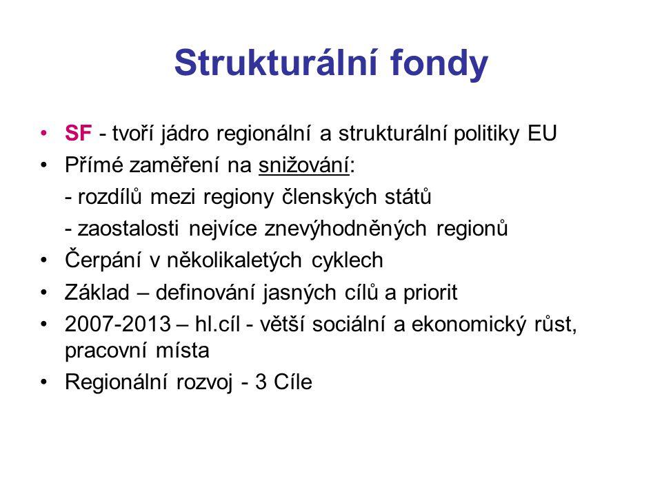 Strukturální fondy SF - tvoří jádro regionální a strukturální politiky EU Přímé zaměření na snižování: - rozdílů mezi regiony členských států - zaosta