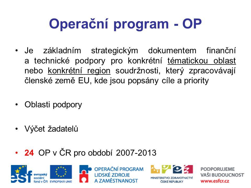 Operační program - OP Je základním strategickým dokumentem finanční a technické podpory pro konkrétní tématickou oblast nebo konkrétní region soudržno