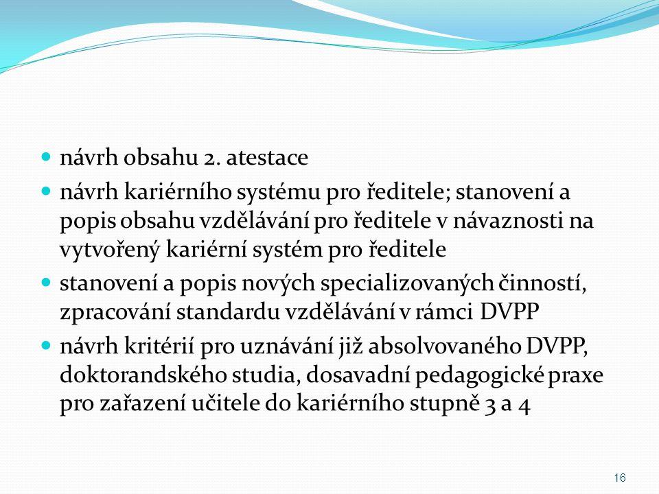 návrh obsahu 2. atestace návrh kariérního systému pro ředitele; stanovení a popis obsahu vzdělávání pro ředitele v návaznosti na vytvořený kariérní sy