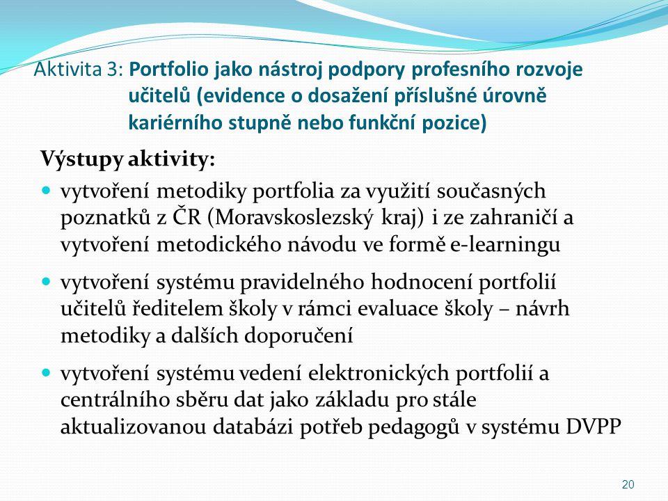 Aktivita 3: Portfolio jako nástroj podpory profesního rozvoje učitelů (evidence o dosažení příslušné úrovně kariérního stupně nebo funkční pozice) Výs