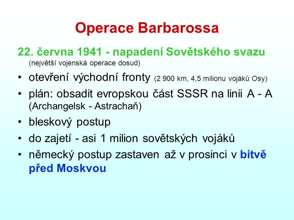 Operace Barbarossa 22. června 1941 - napadení Sovětského svazu (největší vojenská operace dosud) otevření východní fronty (2 900 km, 4,5 milionu voják