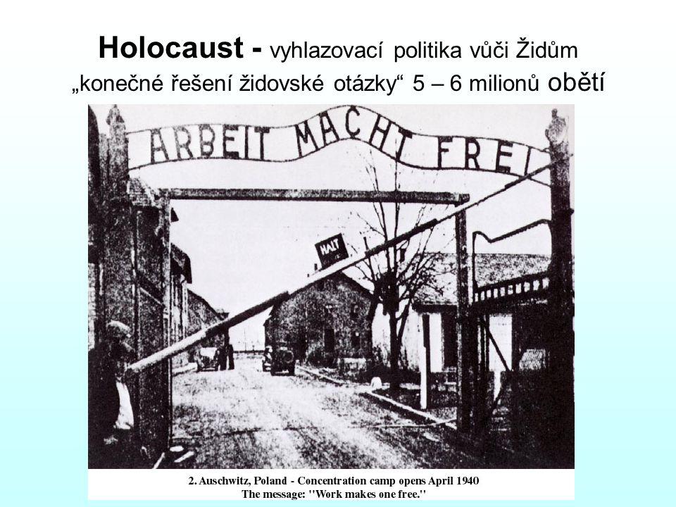 """Holocaust - vyhlazovací politika vůči Židům """"konečné řešení židovské otázky"""" 5 – 6 milionů obětí"""