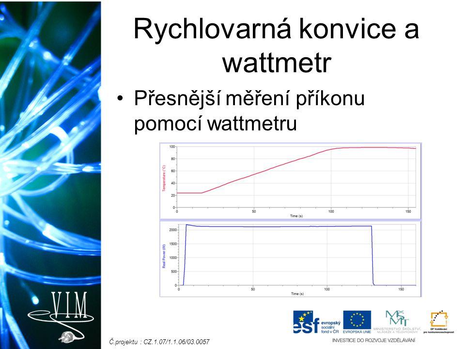 Č.projektu : CZ.1.07/1.1.06/03.0057 Rychlovarná konvice a wattmetr Přesnější měření příkonu pomocí wattmetru