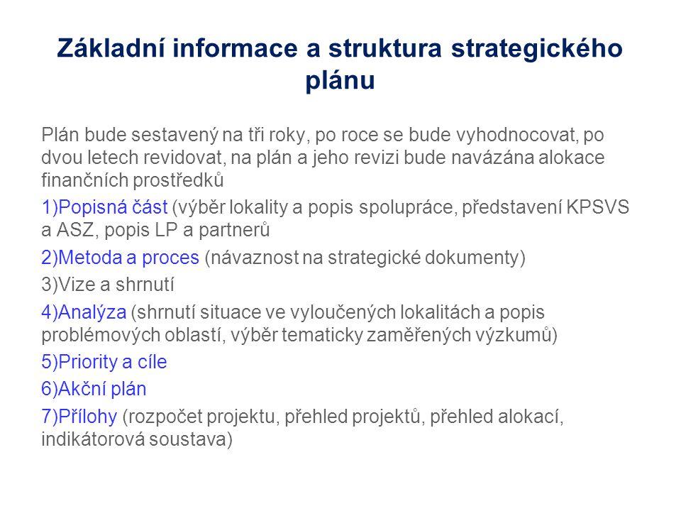 Základní informace a struktura strategického plánu Plán bude sestavený na tři roky, po roce se bude vyhodnocovat, po dvou letech revidovat, na plán a jeho revizi bude navázána alokace finančních prostředků 1)Popisná část (výběr lokality a popis spolupráce, představení KPSVS a ASZ, popis LP a partnerů 2)Metoda a proces (návaznost na strategické dokumenty) 3)Vize a shrnutí 4)Analýza (shrnutí situace ve vyloučených lokalitách a popis problémových oblastí, výběr tematicky zaměřených výzkumů) 5)Priority a cíle 6)Akční plán 7)Přílohy (rozpočet projektu, přehled projektů, přehled alokací, indikátorová soustava)