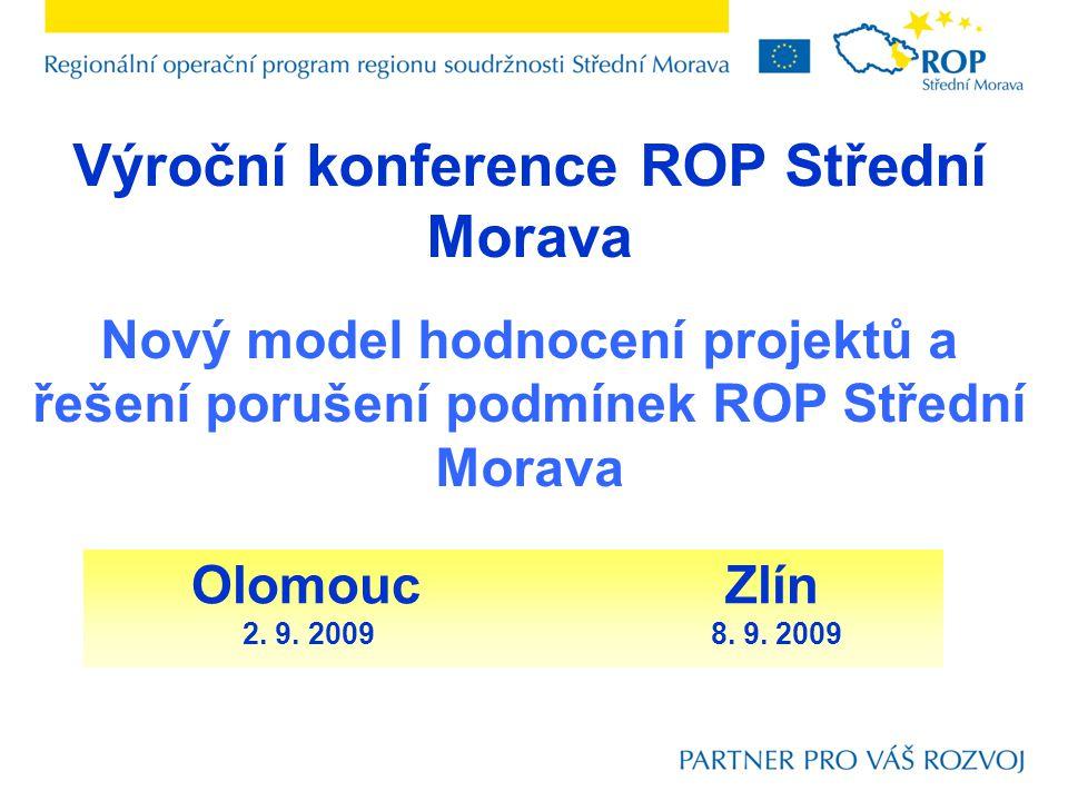 Výroční konference ROP Střední Morava Nový model hodnocení projektů a řešení porušení podmínek ROP Střední Morava OlomoucZlín 2. 9. 2009 8. 9. 2009
