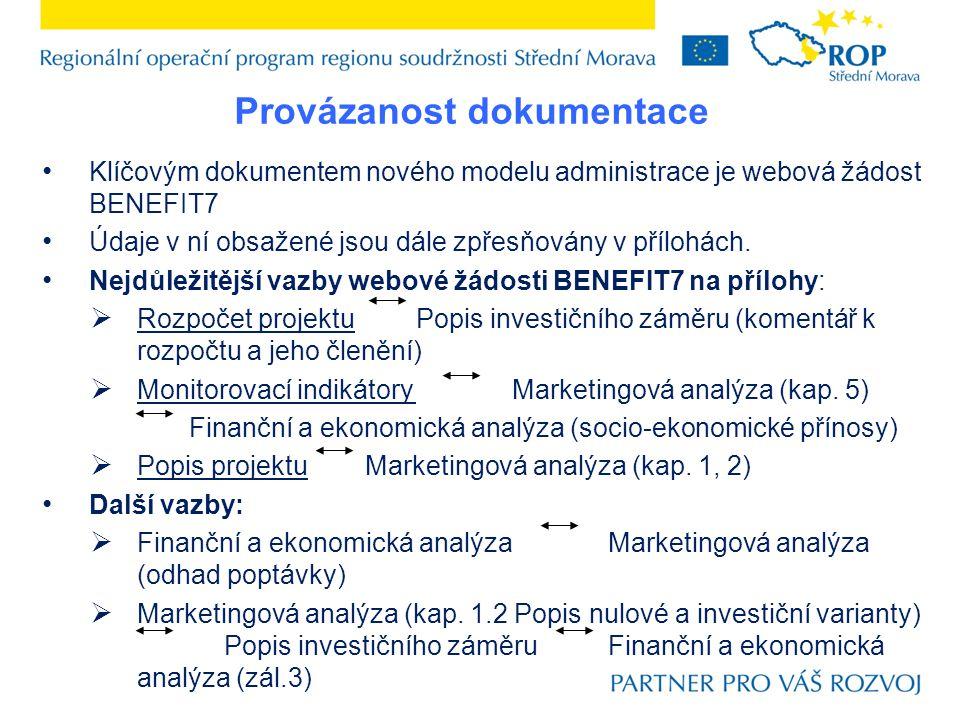 Provázanost dokumentace Klíčovým dokumentem nového modelu administrace je webová žádost BENEFIT7 Údaje v ní obsažené jsou dále zpřesňovány v přílohách