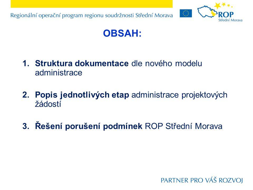 1.Struktura dokumentace dle nového modelu administrace 2.Popis jednotlivých etap administrace projektových žádostí 3.Řešení porušení podmínek ROP Stře