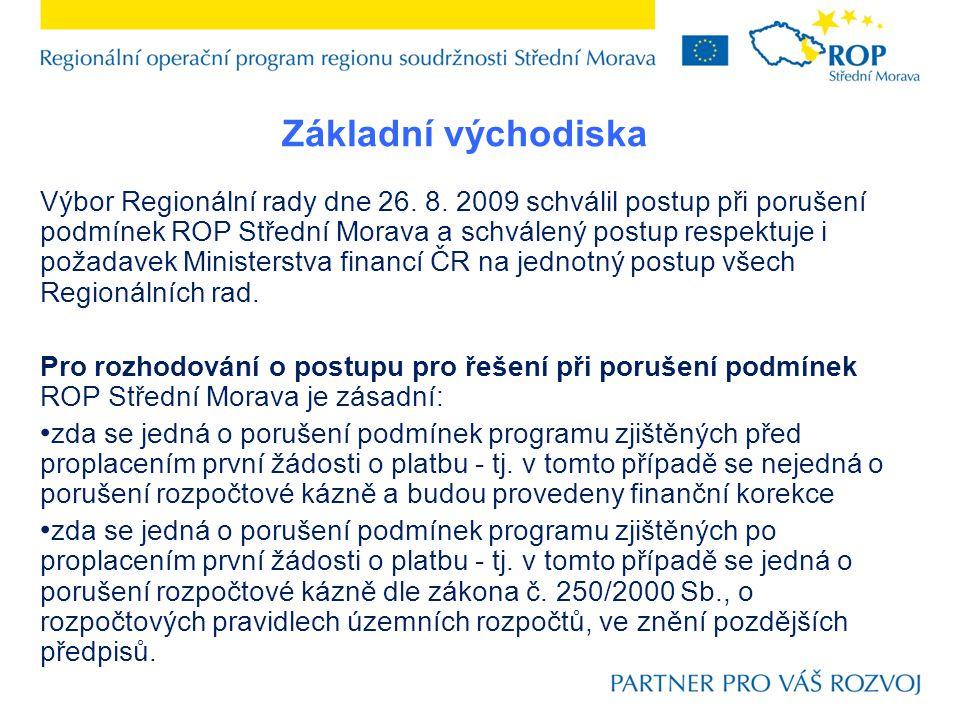 Výbor Regionální rady dne 26. 8. 2009 schválil postup při porušení podmínek ROP Střední Morava a schválený postup respektuje i požadavek Ministerstva