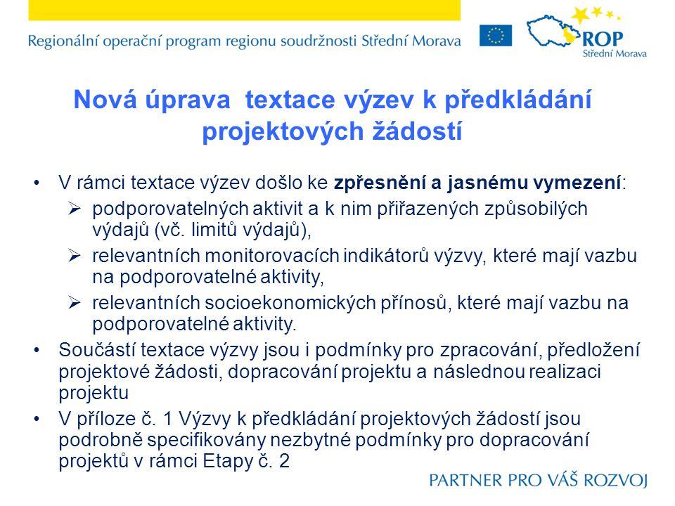 Nová úprava textace výzev k předkládání projektových žádostí V rámci textace výzev došlo ke zpřesnění a jasnému vymezení:  podporovatelných aktivit a