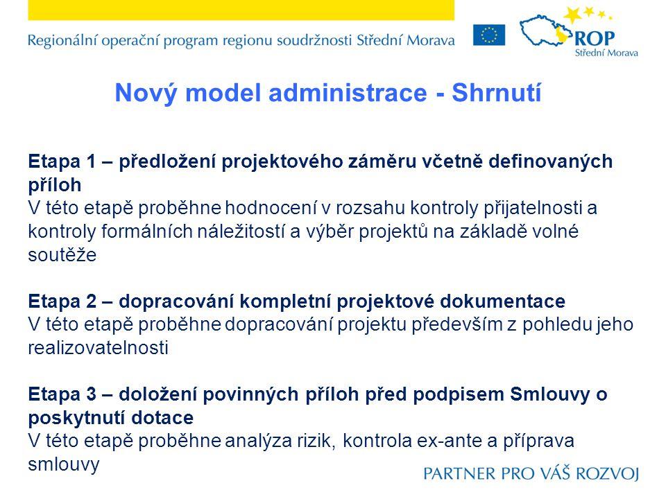 Nový model administrace - Shrnutí Etapa 1 – předložení projektového záměru včetně definovaných příloh V této etapě proběhne hodnocení v rozsahu kontro