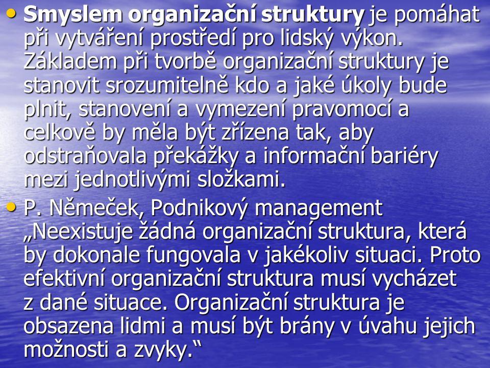 Smyslem organizační struktury je pomáhat při vytváření prostředí pro lidský výkon.