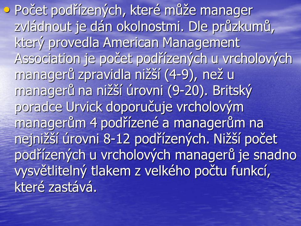 Počet podřízených, které může manager zvládnout je dán okolnostmi.