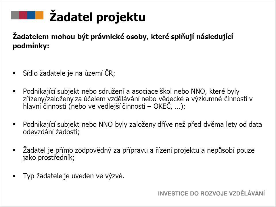 Žadatel projektu Žadatelem mohou být právnické osoby, které splňují následující podmínky:  Sídlo žadatele je na území ČR;  Podnikající subjekt nebo