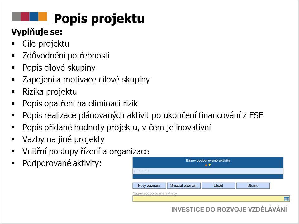 Popis projektu Vyplňuje se:  Cíle projektu  Zdůvodnění potřebnosti  Popis cílové skupiny  Zapojení a motivace cílové skupiny  Rizika projektu  P