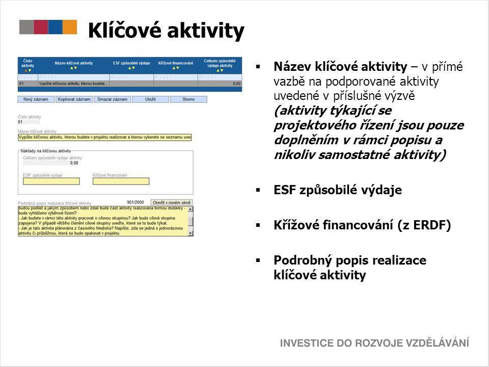 Klíčové aktivity  Název klíčové aktivity – v přímé vazbě na podporované aktivity uvedené v příslušné výzvě (aktivity týkající se projektového řízení