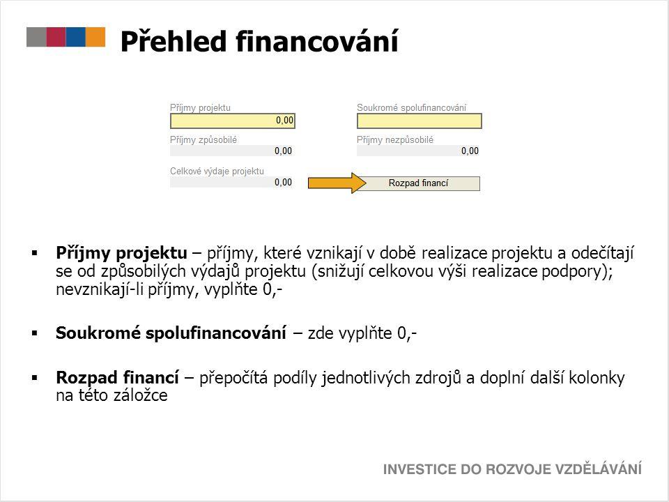 Přehled financování  Příjmy projektu – příjmy, které vznikají v době realizace projektu a odečítají se od způsobilých výdajů projektu (snižují celkov