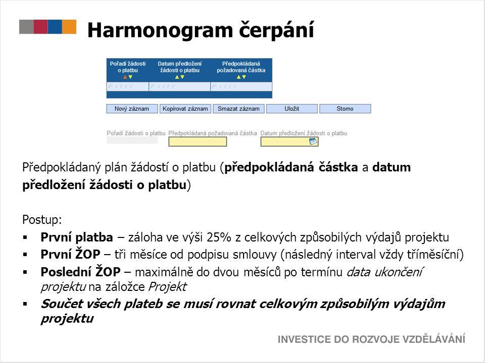 Harmonogram čerpání Předpokládaný plán žádostí o platbu (předpokládaná částka a datum předložení žádosti o platbu) Postup:  První platba – záloha ve