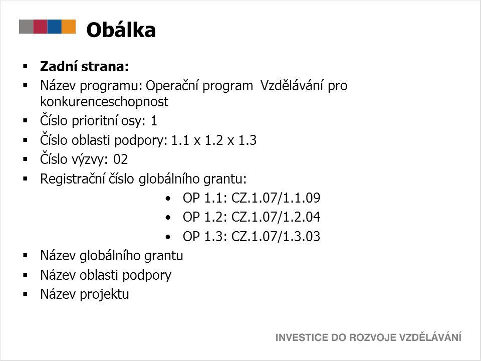 Obálka  Zadní strana:  Název programu: Operační program Vzdělávání pro konkurenceschopnost  Číslo prioritní osy: 1  Číslo oblasti podpory: 1.1 x 1