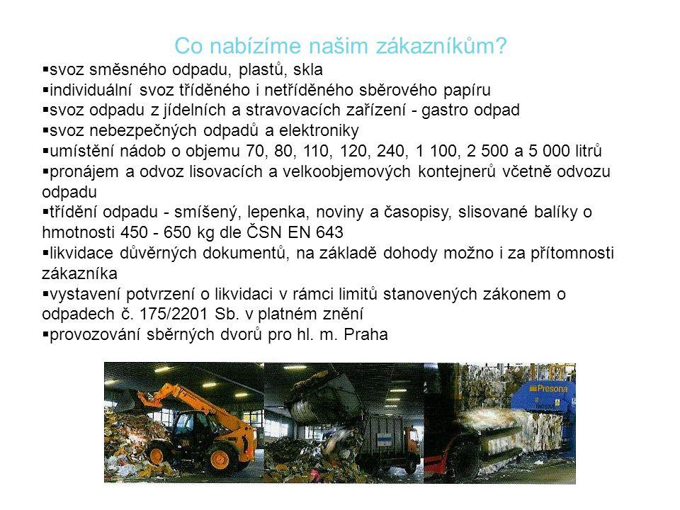 Co nabízíme našim zákazníkům?  svoz směsného odpadu, plastů, skla  individuální svoz tříděného i netříděného sběrového papíru  svoz odpadu z jídeln