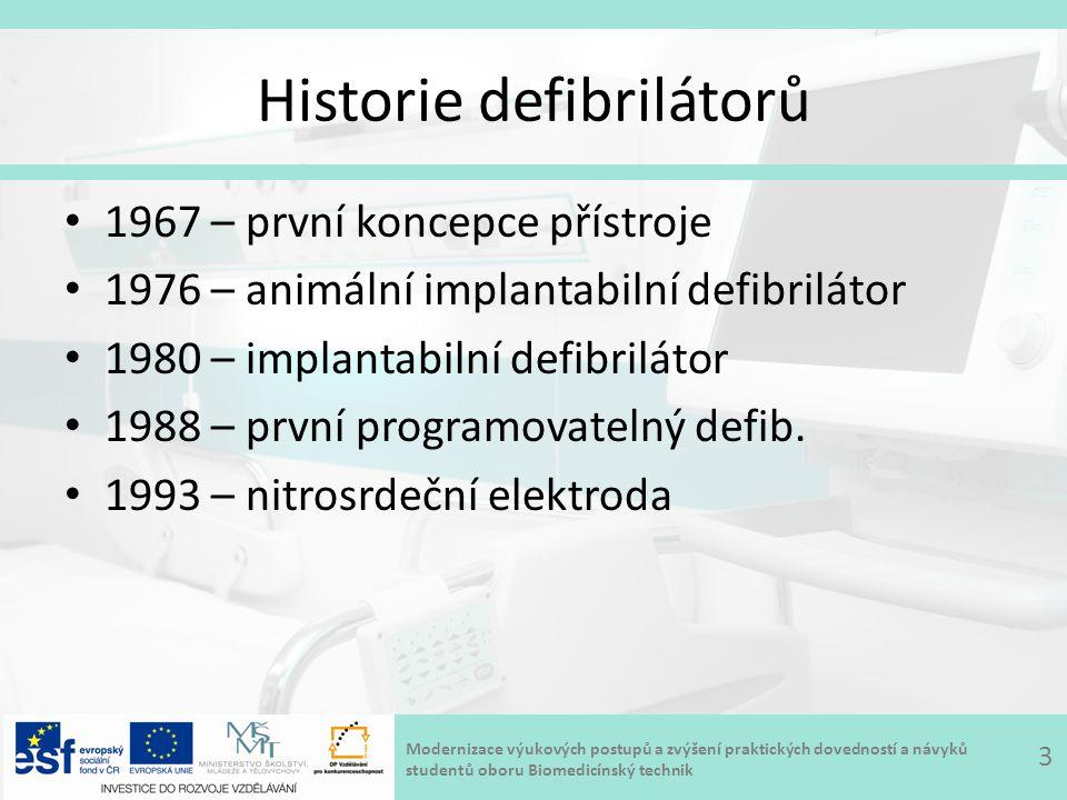 Modernizace výukových postupů a zvýšení praktických dovedností a návyků studentů oboru Biomedicínský technik Historie defibrilátorů 1967 – první koncepce přístroje 1976 – animální implantabilní defibrilátor 1980 – implantabilní defibrilátor 1988 – první programovatelný defib.