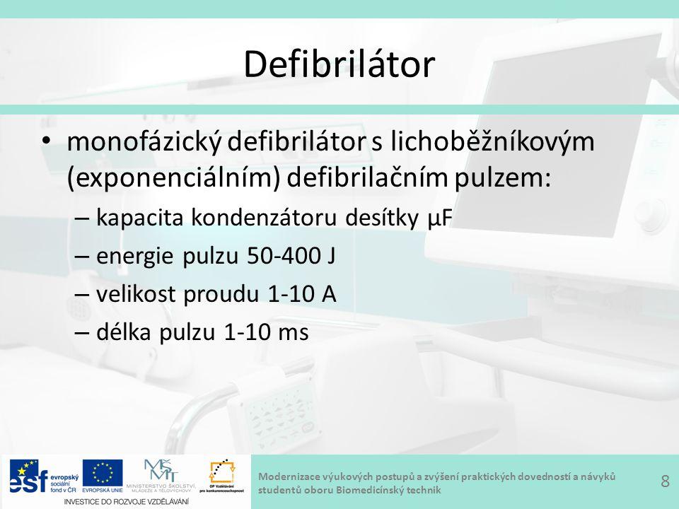 Modernizace výukových postupů a zvýšení praktických dovedností a návyků studentů oboru Biomedicínský technik Defibrilátor – animace 9