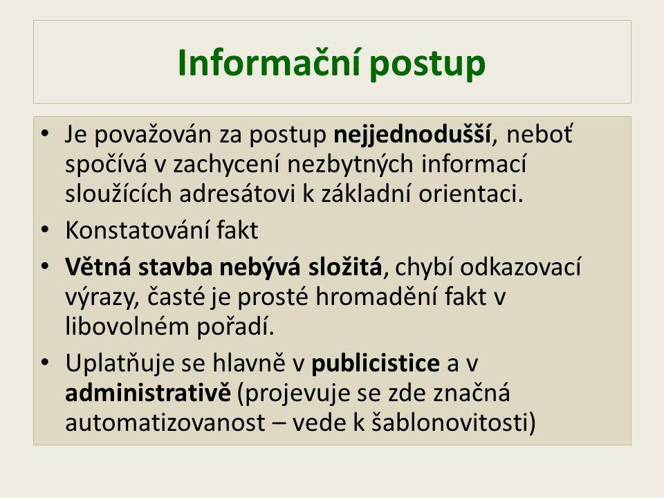 Informační postup Je považován za postup nejjednodušší, neboť spočívá v zachycení nezbytných informací sloužících adresátovi k základní orientaci.