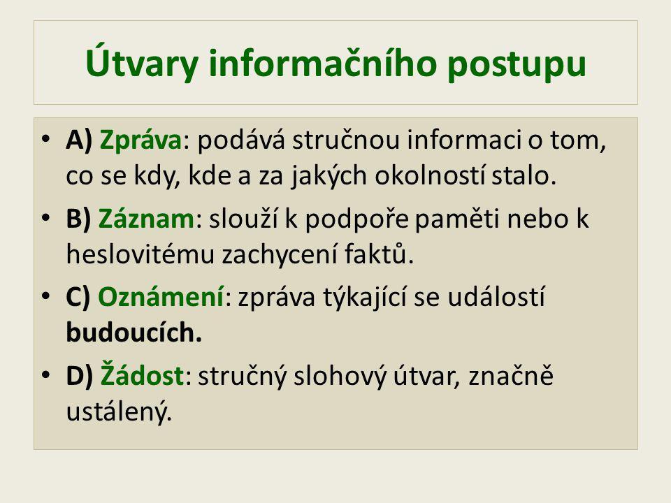 Útvary informačního postupu A) Zpráva: podává stručnou informaci o tom, co se kdy, kde a za jakých okolností stalo.
