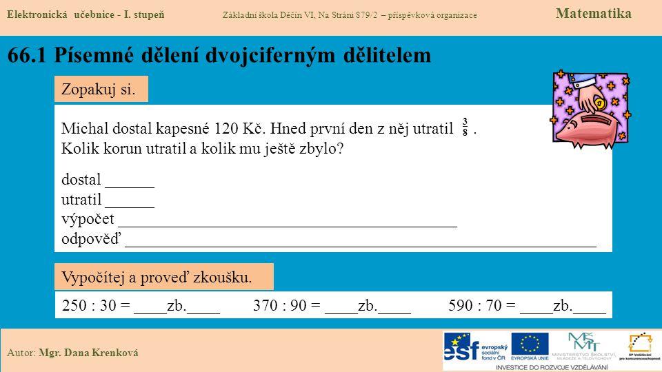 66.1 Písemné dělení dvojciferným dělitelem Elektronická učebnice - I.